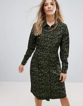Brave Soul Lexis Button Through Midi Dress In Camo Print