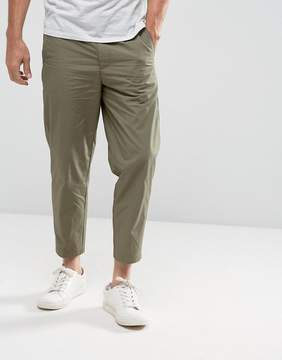 Kiomi Slim Fit Cropped Chino In Khaki
