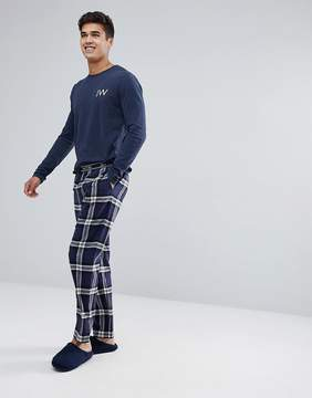 Jack Wills Blakebrook Flannel Lounge Pant in Navy/Red