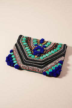 Anthropologie Pom Pom Envelope Clutch