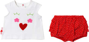 Agatha Ruiz De La Prada White And Red Spotted and Face T-Shirt And Shorts