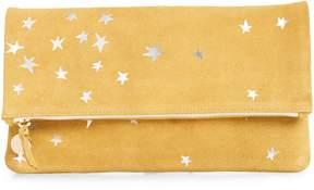 Clare Vivier Margot Star Print Foldover Suede Clutch