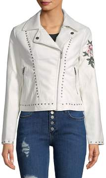 C&C California Women's Studded and Embroidered Floral Jacket