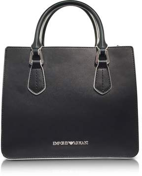 Emporio Armani Black and White Top Handles Satchel Bag