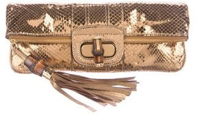 Gucci Bamboo Python Lucy Clutch - METALLIC - STYLE