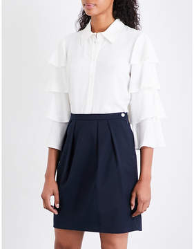 Claudie Pierlot Tiered-sleeve lace-panel crepe shirt