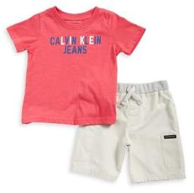 Calvin Klein Jeans Little Boy's Two-Piece Printed Tee and Logo Shorts Set