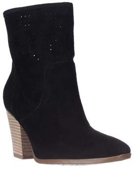 Enzo Angiolini Gettup Perforated Calf Boots, Black Suede.
