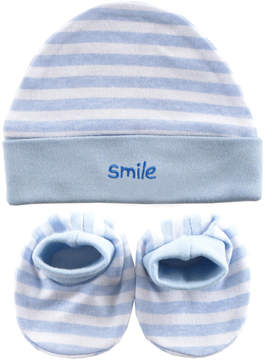 Luvable Friends Blue 'Smile' Beanie & Booties - Newborn