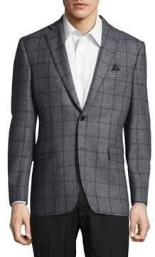Black & Brown Black Brown Slim-Fit Windowpane Check Blazer