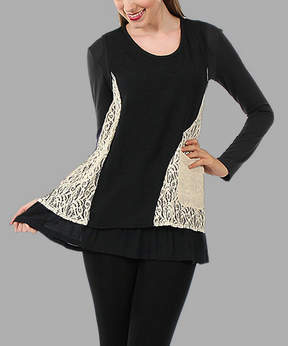 Lily Black & Cream Sleeveless Lace-Pocket Tunic - Women