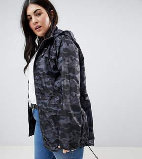 Brave Soul Plus Oxford Lightweight Jacket in Camo