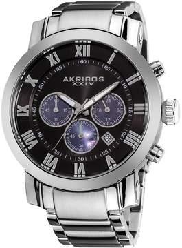 Akribos XXIV Akribos Grandiose Chronograph Black Dial Stainless Steel Men's Watch