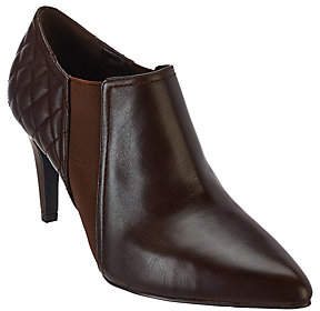Isaac Mizrahi Live! Leather Booties w/ QuiltingDetail