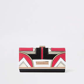 River Island Coral geo panel cutabout cliptop purse