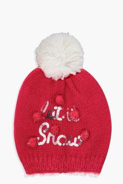 boohoo Christmas Emily Let It Snow Sequin Slogan Beanie