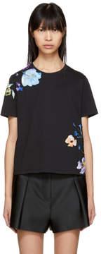 3.1 Phillip Lim Black Floral Applique T-Shirt