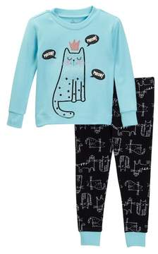 Petit Lem Meow Kitty Queen Long Sleeve Pajama Set (Baby Girls)