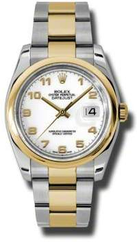 Rolex Datejust 36 White Dial Stainless Steel and 18K Yellow Gold Oyster Bracelet Automatic Men's Watch
