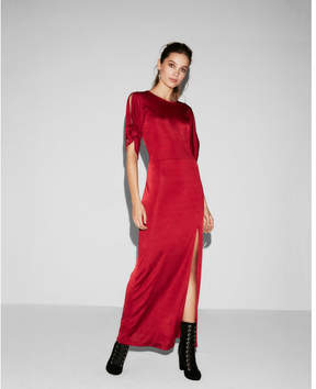 Express tie sleeve high slit maxi dress