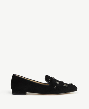 Ann Taylor Selita Jeweled Suede Loafers