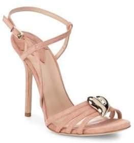 Aperlaï Brooch Accent Suede Sandals
