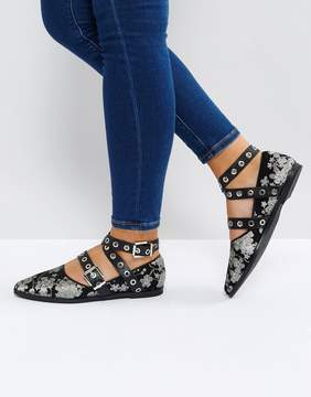 Sol Sana Miro Floral Buckle Detail Flat Shoes
