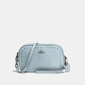 COACH Coach Crossbody Clutch With Lacquer Rivets - DARK GUNMETAL/PALE BLUE - STYLE