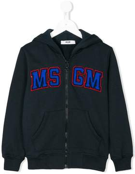 MSGM logo patch zip hoodie