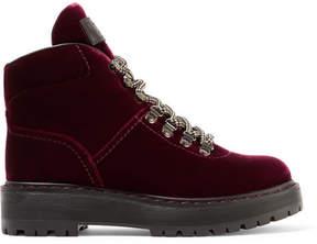 Prada Leather-trimmed Velvet Ankle Boots - Burgundy