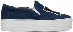 Joshua Sanders Blue Denim LA Double Slip-On Sneakers
