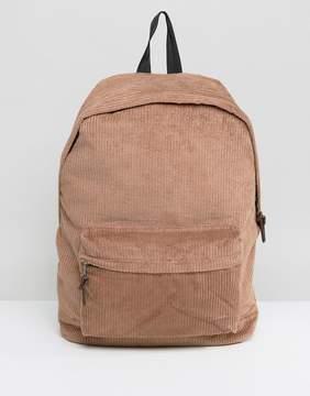 Asos Backpack In Brown Cord