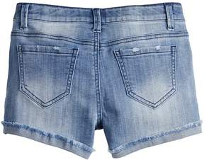 Mudd Girls 7-16 & Plus Size Extreme Wash Frayed Cuff Denim Shorts