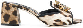 Dolce & Gabbana leopard print jewelled front mules