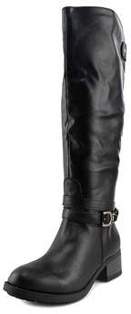 Rampage Womens Imelda Leather Round Toe Knee High Riding Boots.