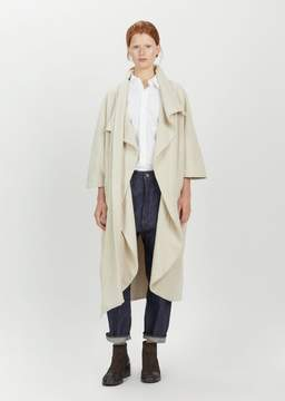Black Crane Wool Cape Coat Cream Size: One Size