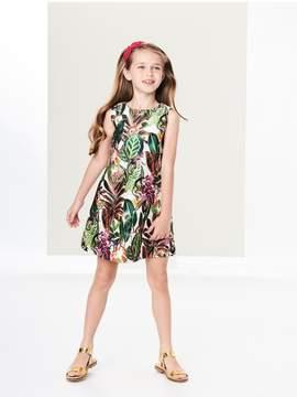 Oscar de la Renta Kids Kids | Jungle Monkeys Mikado A-Line Dress
