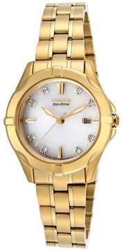 Citizen Women's Diamond Gold-Tone Stainless Steel White Dial