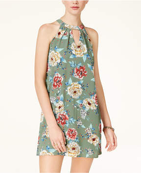 As U Wish Juniors' Printed Mock-Neck Shift Dress