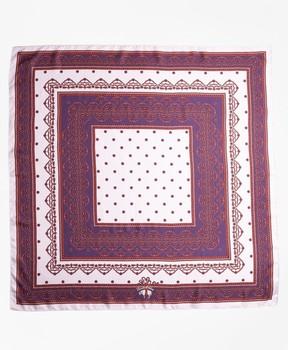 Brooks Brothers Ribbon-Print Silk Square Scarf