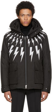 Neil Barrett Black and White Fairisle Thunderbolt Jacket