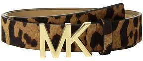 MICHAEL Michael Kors Leopard Haircalf Logo Belt Women's Belts
