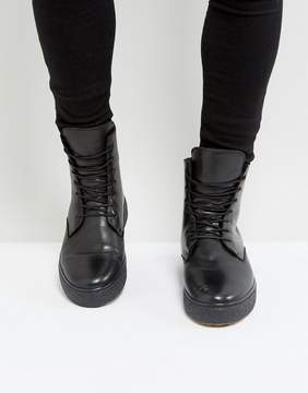 Zign Shoes Leather Smooth Wedge Lace Up Boots