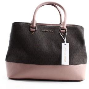 Michael Kors Pink Fawn PVC Signature Savannah Satchel Bag Purse - PINKS - STYLE