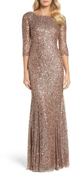 Adrianna Papell Women's Beaded Trumpet Gown