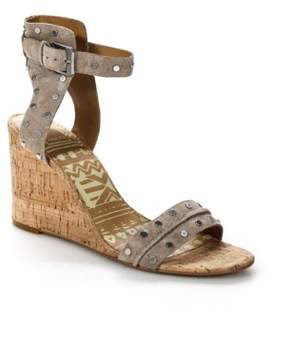 Dolce Vita Grey Leather Studded Wedge Sandal SS17 Size10 NEW $150 011061