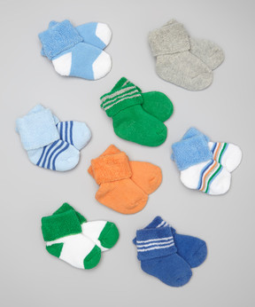 Luvable Friends Blue Solid & Stripe Cuff Socks Set - Infant