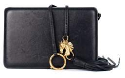 Roberto Cavalli Solid Black Leather Fringe Clutch Bag