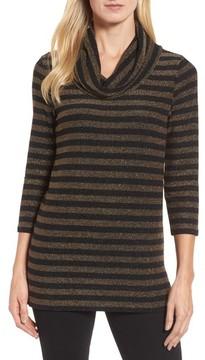 Chaus Women's Metallic Stripe Cowl Neck Top