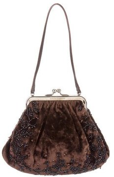 Dolce & Gabbana Beaded Velvet Evening Bag - BROWN - STYLE
